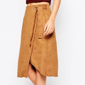 FIRST & I Wrap Pencil Skirt in Brown
